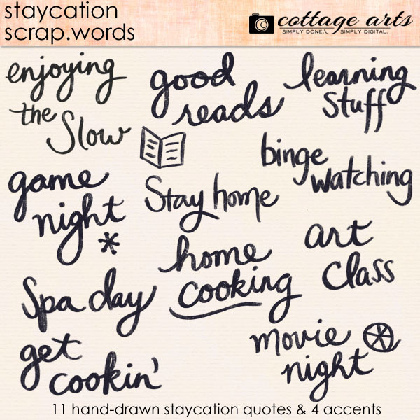Staycation Scrap.Words Digital Art - Digital Scrapbooking Kits