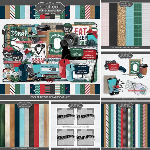 Escape to the Scraproom Bundle Digital Art - Digital Scrapbooking Kits
