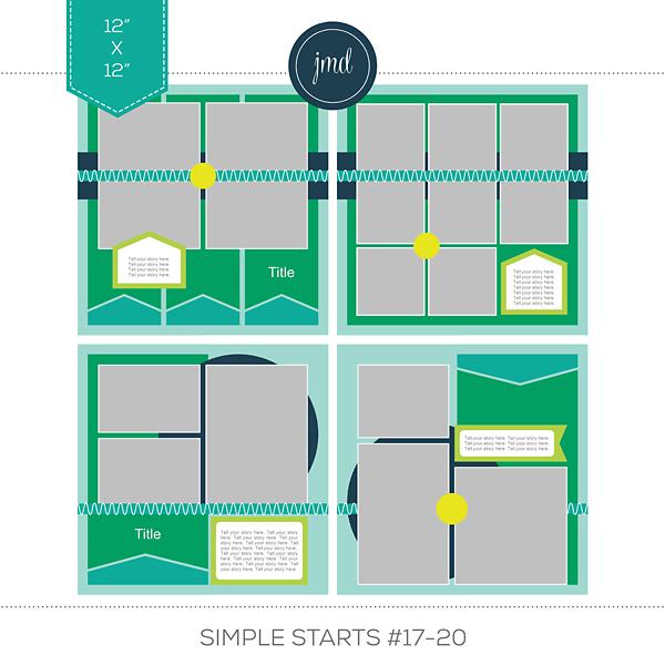 Simple Starts #17-20 (12x12) Digital Art - Digital Scrapbooking Kits