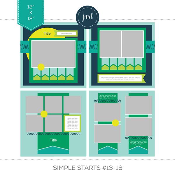 Simple Starts #13-16 (12x12) Digital Art - Digital Scrapbooking Kits