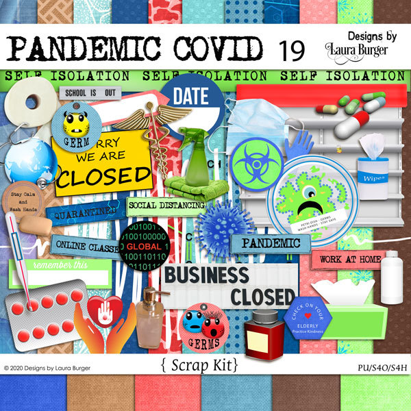 Pandemic Covid-19 Scrap Kit Digital Art - Digital Scrapbooking Kits