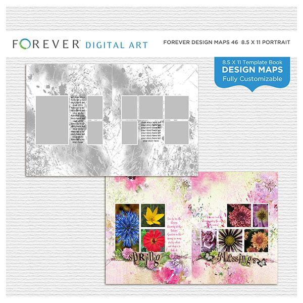 Forever Design Maps 46 - 8.5x11 Portrait Digital Art - Digital Scrapbooking Kits
