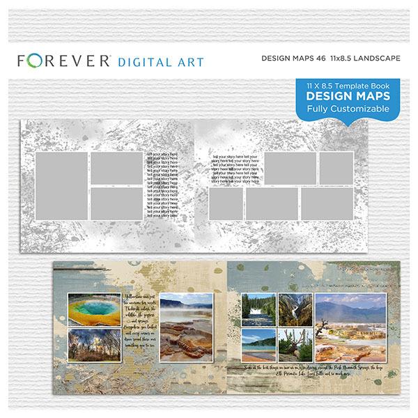 Forever Design Maps 46 - 11x8.5 Digital Art - Digital Scrapbooking Kits