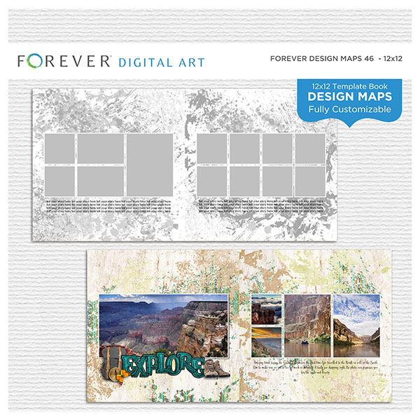 Forever Design Maps 46 - 12x12 Digital Art - Digital Scrapbooking Kits