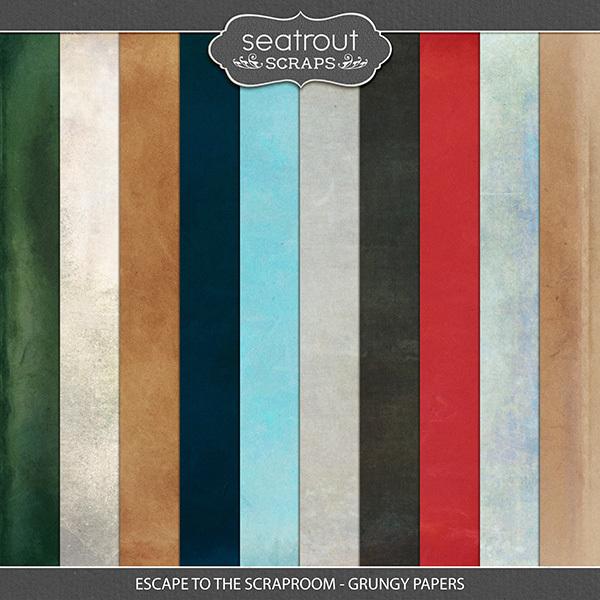 Escape to the Scraproom Grungy Papers Digital Art - Digital Scrapbooking Kits