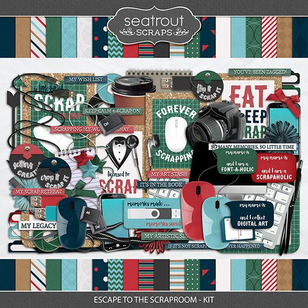 Escape to the Scraproom Kit Digital Art - Digital Scrapbooking Kits
