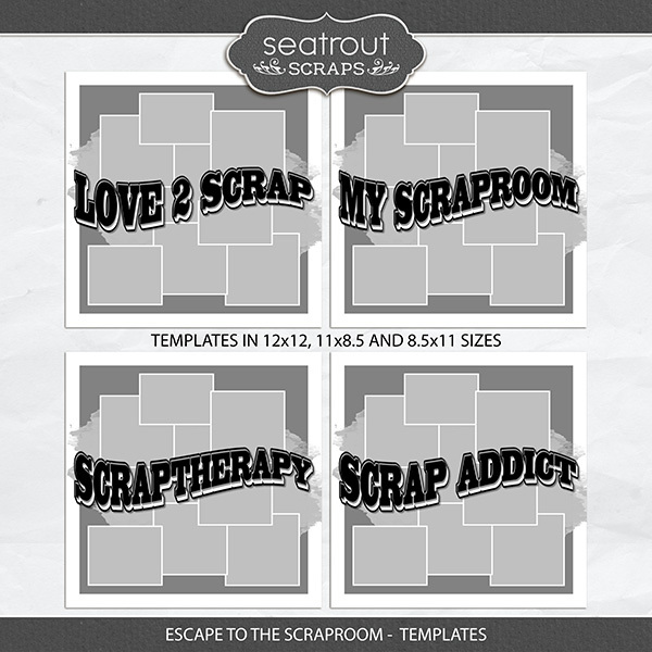 Escape to the Scraproom Templates Digital Art - Digital Scrapbooking Kits