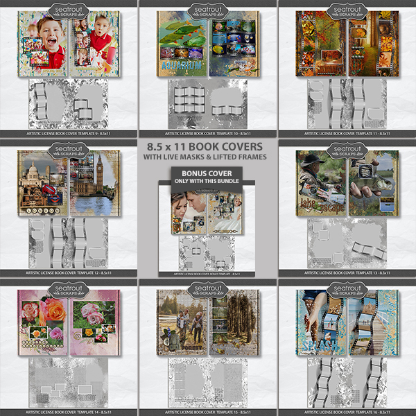 Artistic License Book Covers Bonus Bundle 2 - 8.5x11 Digital Art - Digital Scrapbooking Kits