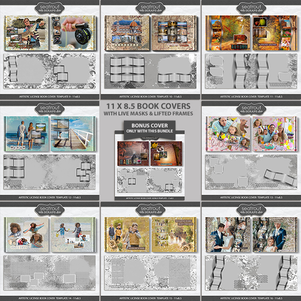 Artistic License Book Covers Bonus Bundle 2 - 11x8.5 Digital Art - Digital Scrapbooking Kits