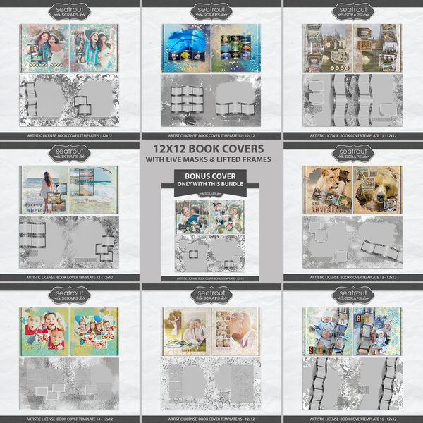 Artistic License Book Covers Bonus Bundle 2 - 12x12 Digital Art - Digital Scrapbooking Kits