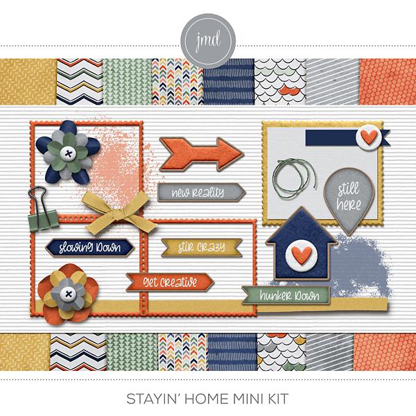 Stayin Home Mini Kit Digital Art - Digital Scrapbooking Kits