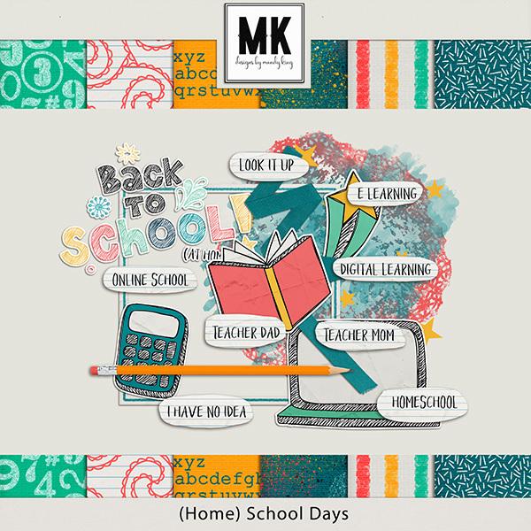 (Home) School Days Digital Art - Digital Scrapbooking Kits