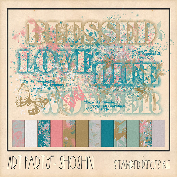 Shoshin - Stamped Pieces Kit Digital Art - Digital Scrapbooking Kits