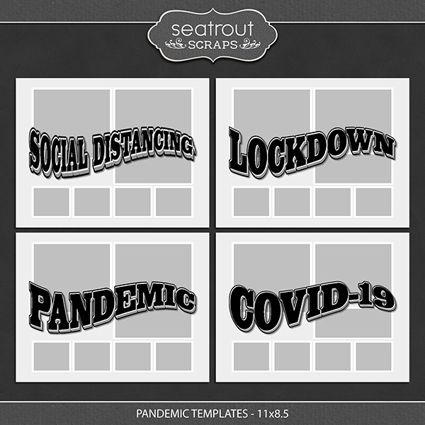 Pandemic Templates 11x8.5 Digital Art - Digital Scrapbooking Kits