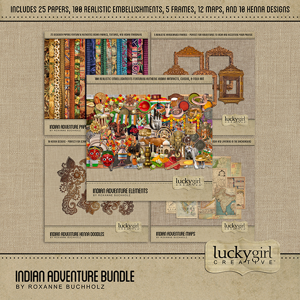Indian Adventure Bundle Digital Art - Digital Scrapbooking Kits