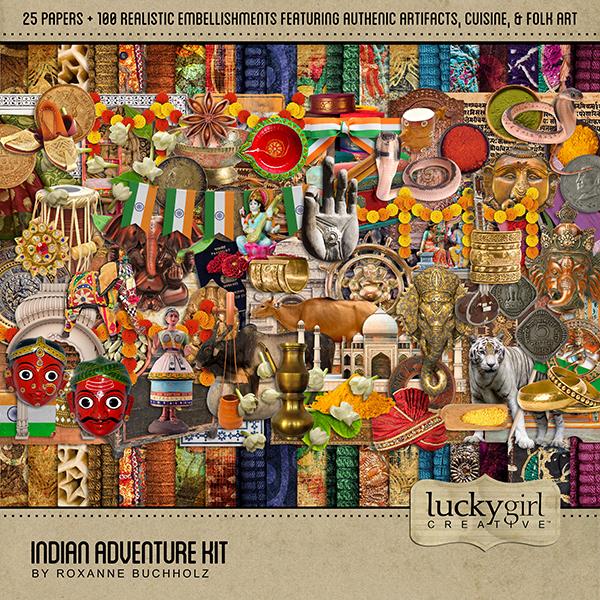 Indian Adventure Kit Digital Art - Digital Scrapbooking Kits