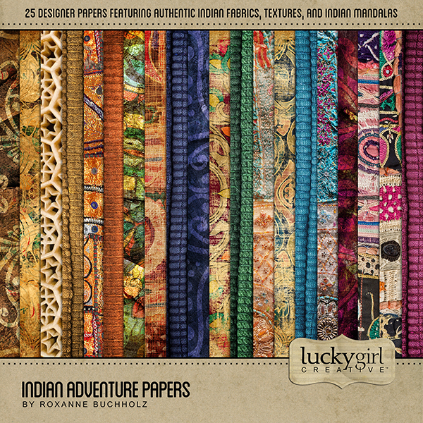 Indian Adventure Papers Digital Art - Digital Scrapbooking Kits