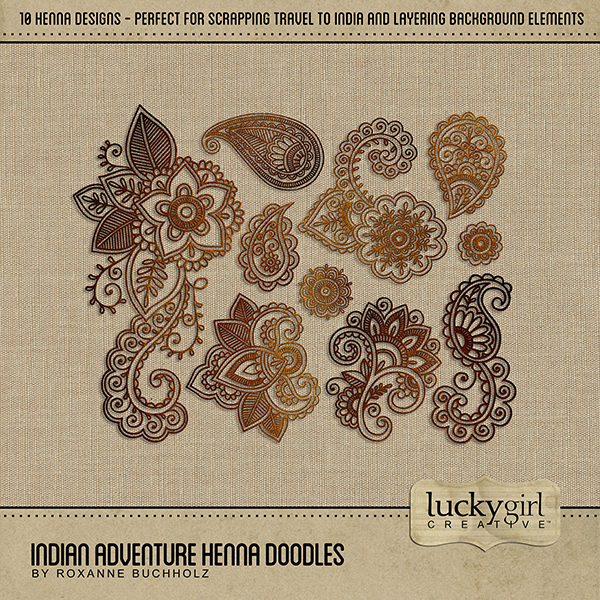 Indian Adventure Henna Doodles Digital Art - Digital Scrapbooking Kits