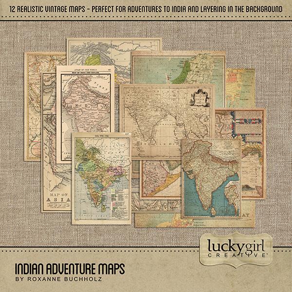 Indian Adventure Maps Digital Art - Digital Scrapbooking Kits