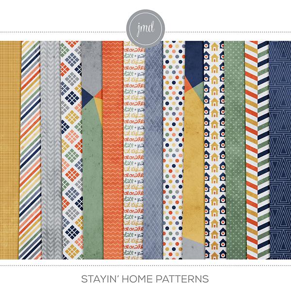 Stayin' Home Patterns Digital Art - Digital Scrapbooking Kits