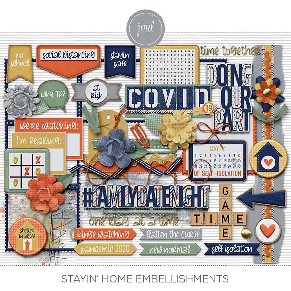 Stayin' Home Embellishments Digital Art - Digital Scrapbooking Kits