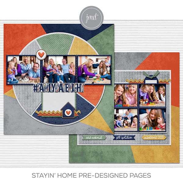 Stayin' Home Pre-designed Pages Digital Art - Digital Scrapbooking Kits