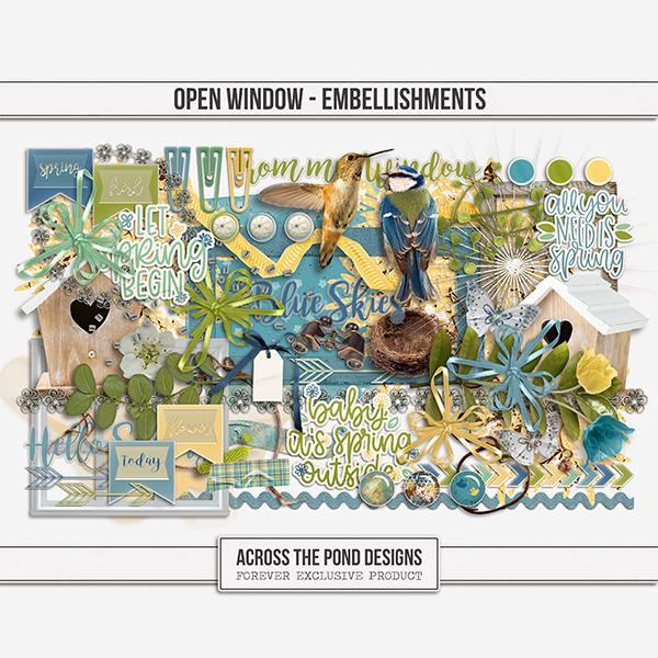 Open Window  - Embellishments Digital Art - Digital Scrapbooking Kits