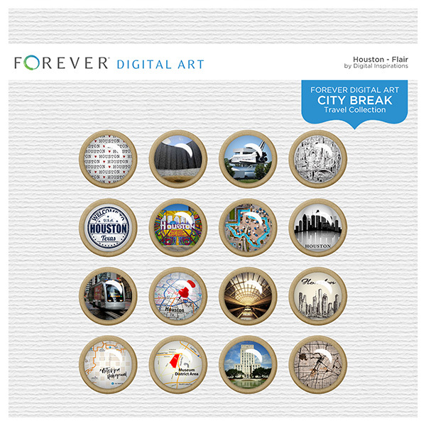 City Break - Houston -  Flair Digital Art - Digital Scrapbooking Kits