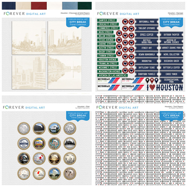City Break - Houston -  Bundle Digital Art - Digital Scrapbooking Kits