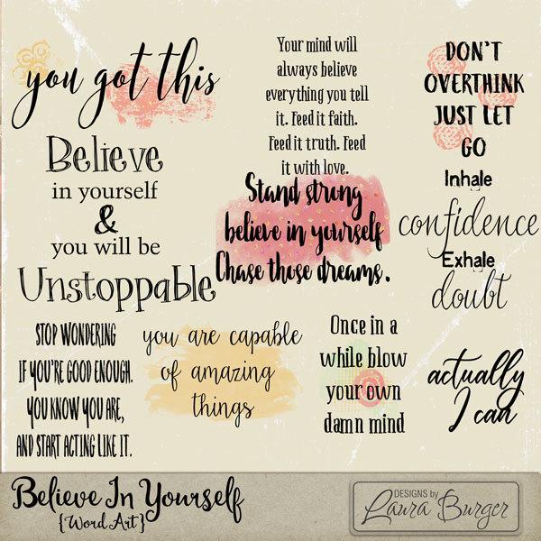 Believe In Yourself Word Art Digital Art - Digital Scrapbooking Kits