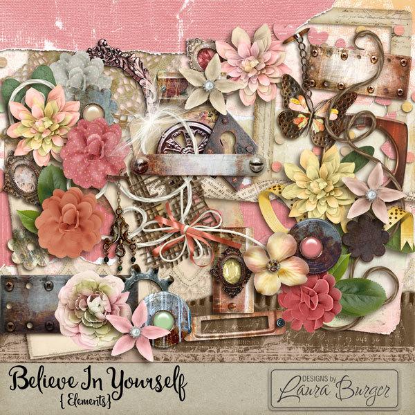 Believe In Yourself Elements Digital Art - Digital Scrapbooking Kits