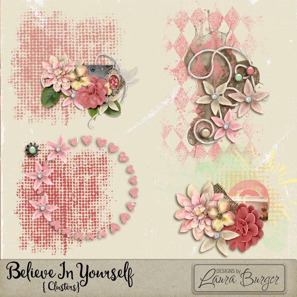 Believe in Yourself Clustered Scatters Digital Art - Digital Scrapbooking Kits