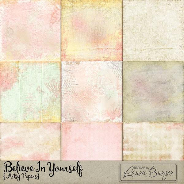 Believe in Yourself Pattern Papers Digital Art - Digital Scrapbooking Kits