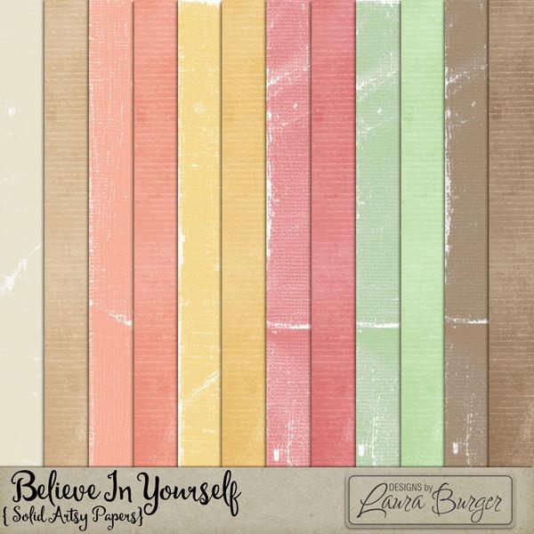 Believe in Yourself  Solid Papers Digital Art - Digital Scrapbooking Kits