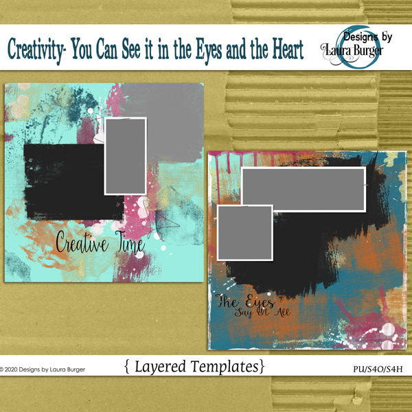 Creativity- You Can See it in the Eyes and the Heart Template Set Digital Art - Digital Scrapbooking Kits