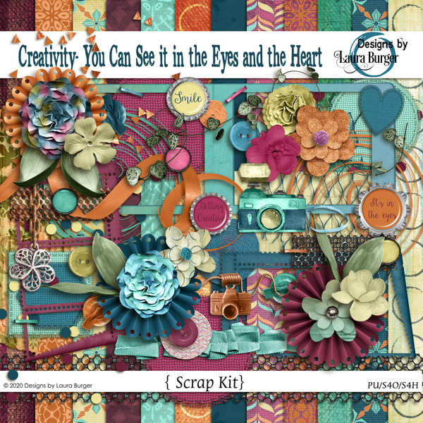 Creativity- You Can See it in the Eyes and the Heart Scrap Kit Digital Art - Digital Scrapbooking Kits