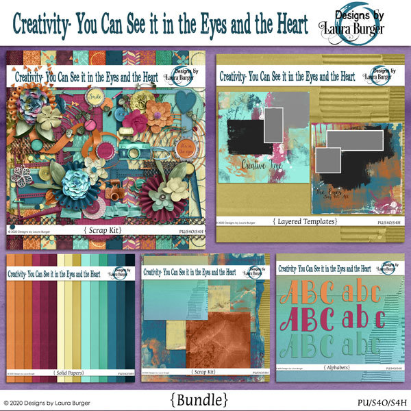 Creativity- You Can See it in the Eyes and the Heart Bundle Digital Art - Digital Scrapbooking Kits
