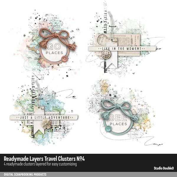 Readymade Layers Travel Clusters No. 04 Digital Art - Digital Scrapbooking Kits