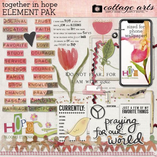 Together in Hope Element Pak Digital Art - Digital Scrapbooking Kits