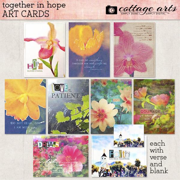 Together in Hope Art Cards Digital Art - Digital Scrapbooking Kits
