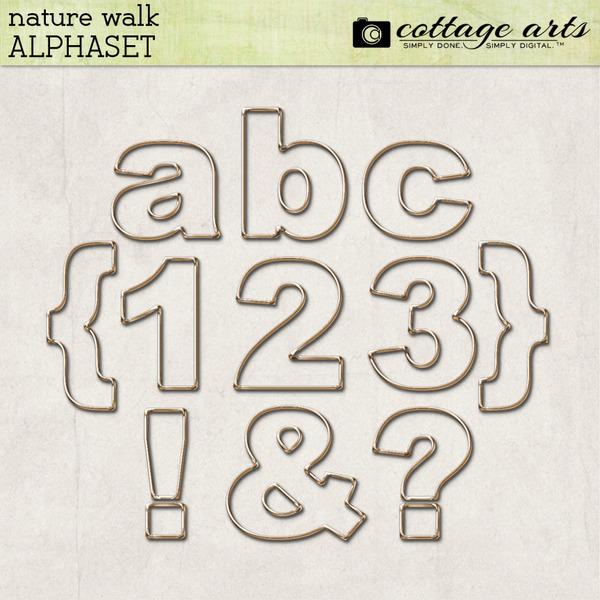 Nature Walk AlphaSet Digital Art - Digital Scrapbooking Kits
