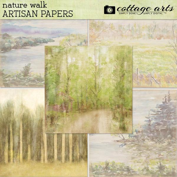 Nature Walk Artisan Papers Digital Art - Digital Scrapbooking Kits