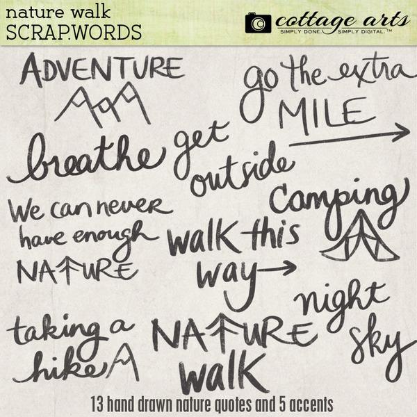 Nature Walk Scrap.Words Digital Art - Digital Scrapbooking Kits