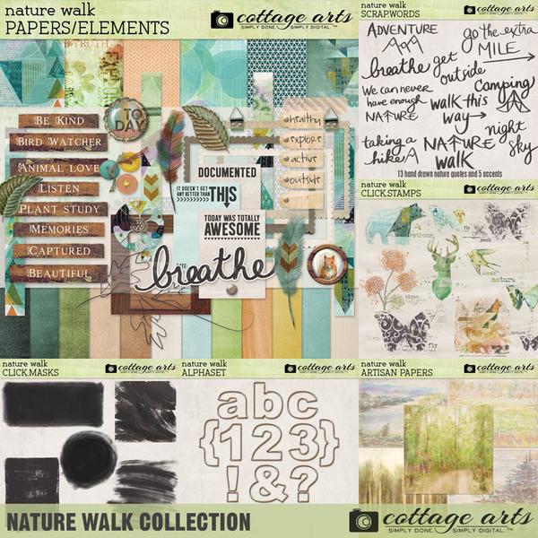 Nature Walk Collection Digital Art - Digital Scrapbooking Kits