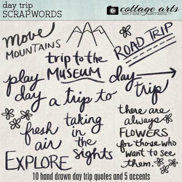 Day Trip Scrap.Words Digital Art - Digital Scrapbooking Kits