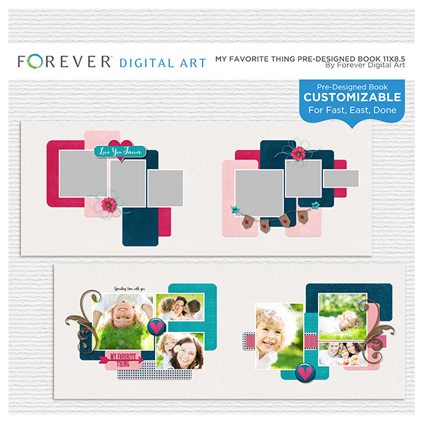 My Favorite Thing Pre-designed Book 11x8.5 Digital Art - Digital Scrapbooking Kits