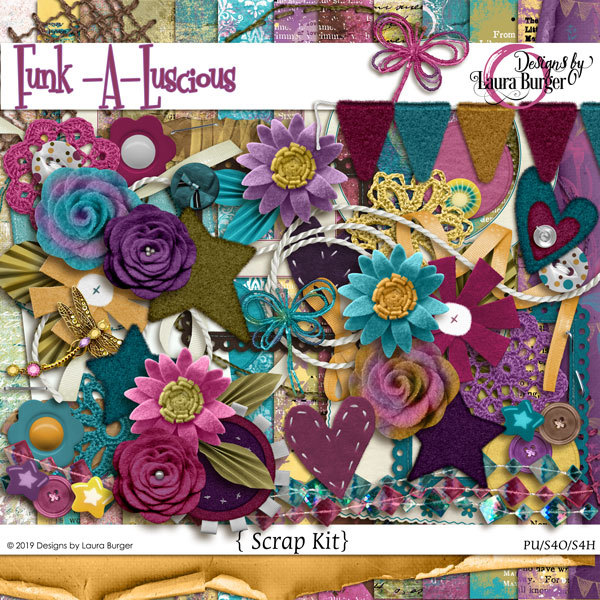 Funkaluscious Scrap Kit Digital Art - Digital Scrapbooking Kits