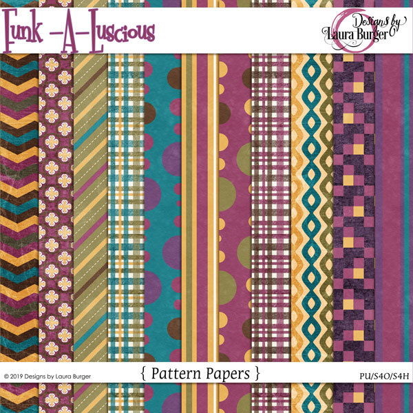 Funkaluscious Pattern Papers Digital Art - Digital Scrapbooking Kits