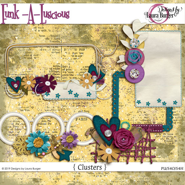 Funkaluscious Clusters Digital Art - Digital Scrapbooking Kits