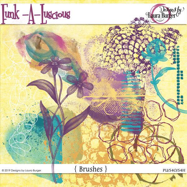 Funkaluscious Brushes Digital Art - Digital Scrapbooking Kits